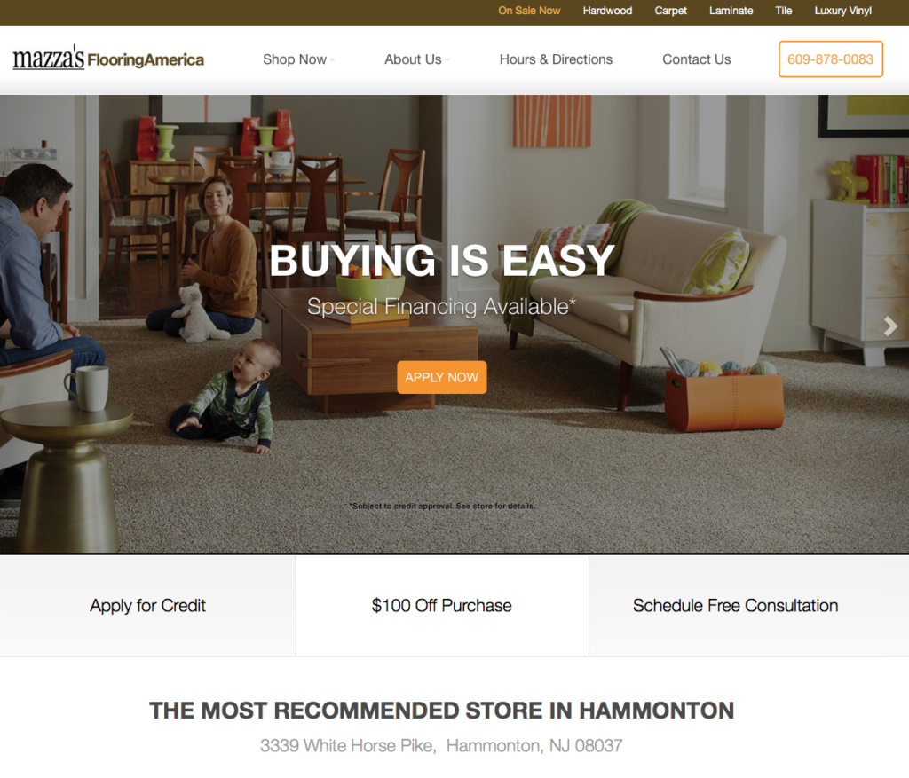 Hammonton NJ Website Design Mazzas Homepage