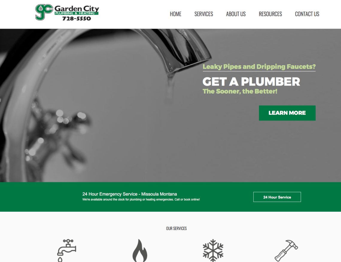 new arrivals e91ea 1d182 Garden City Plumbing website design
