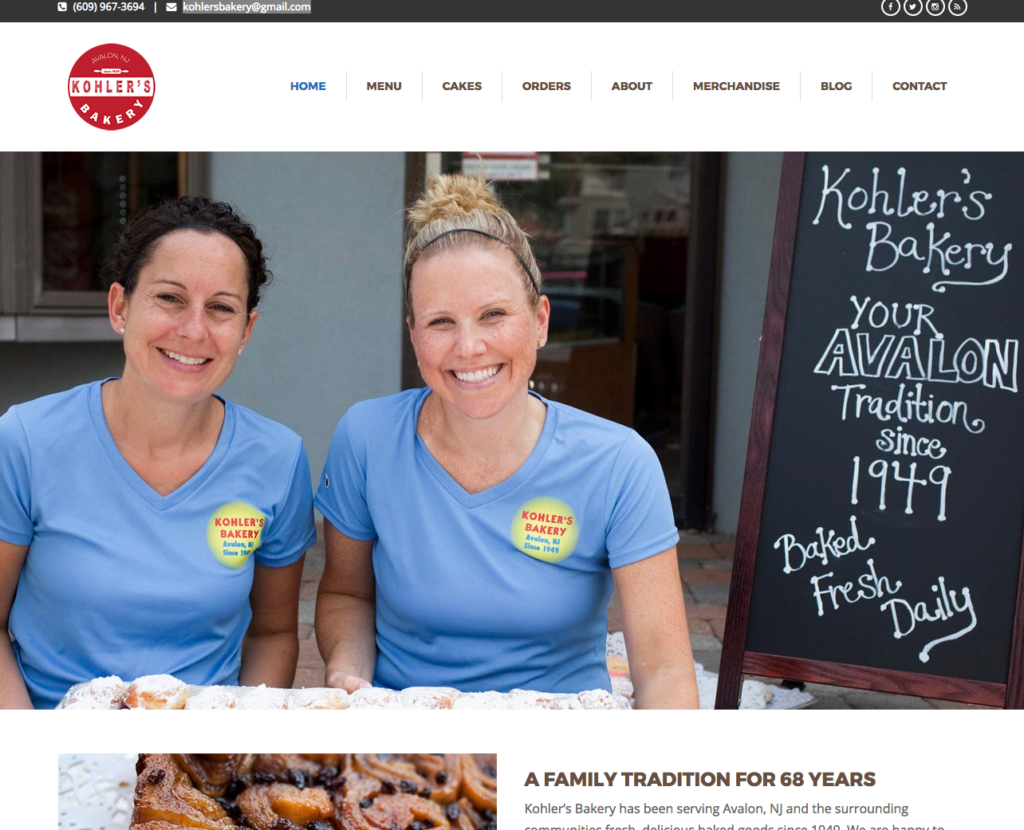 Kohlers Bakery- Avalon NJ Website Design