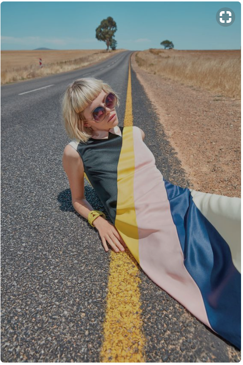 Product Photography - Color Blocked Dress and Highway Stripes