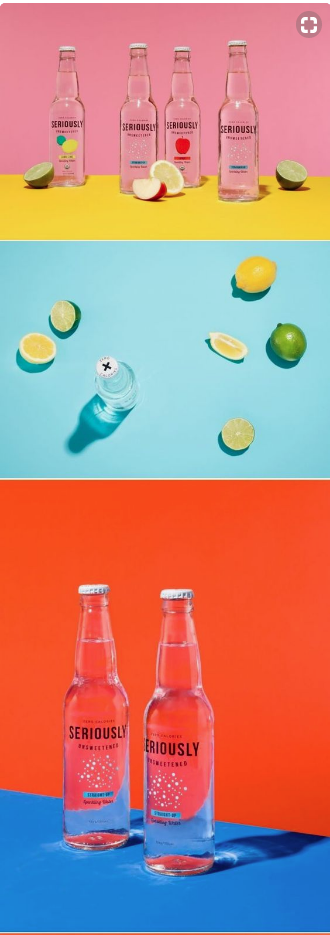 Product Photography - Glass Bottles with Bold Backgrounds 1