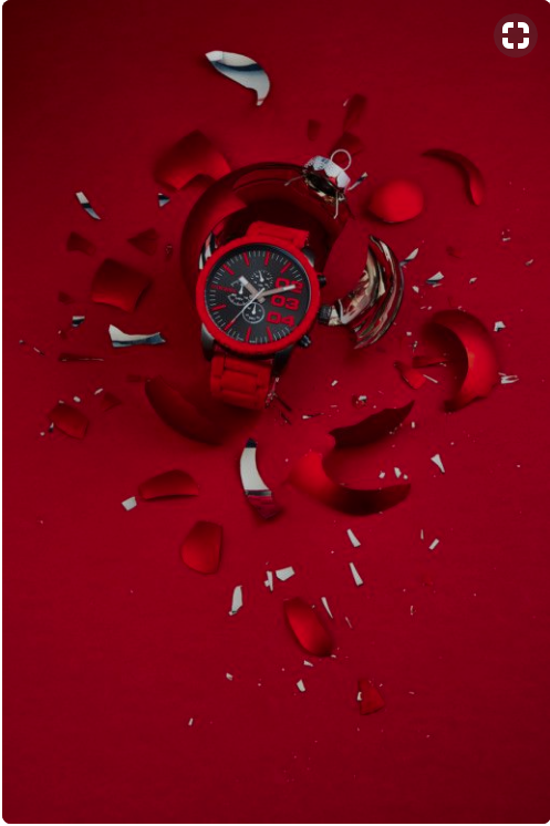Product Photography - Red Watch and Shattered Ornament