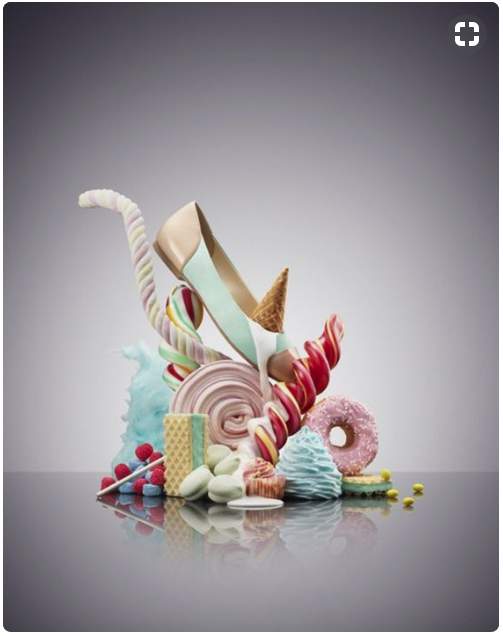 Product Photography - shoe ad with ice cream and sweets